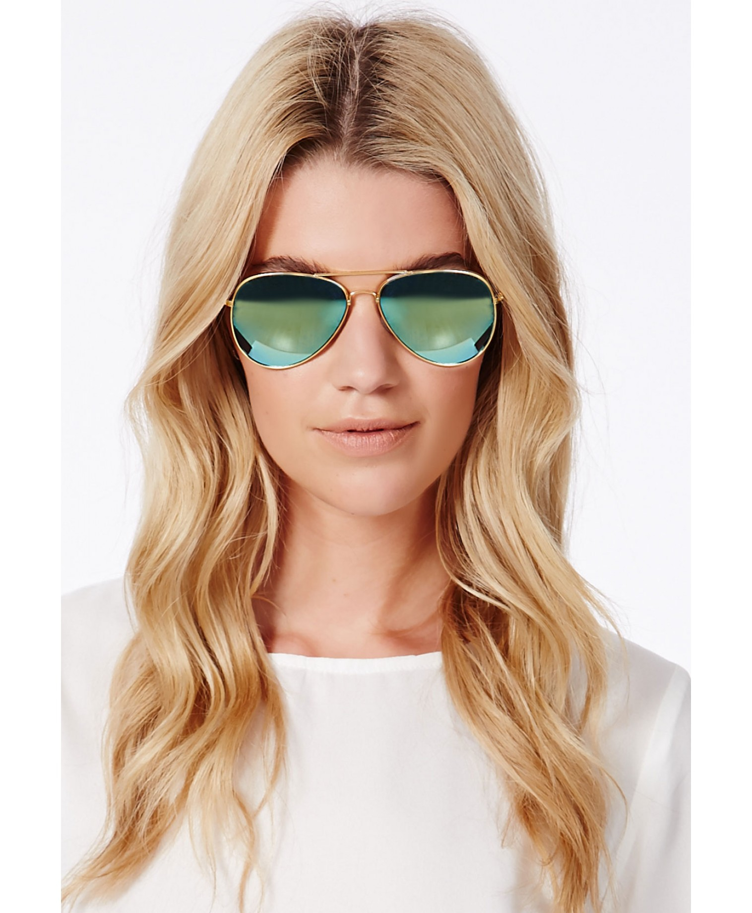 mirror aviator sunglasses for women  Missguided Orlando Mirrored Aviator Sunglasses in Blue
