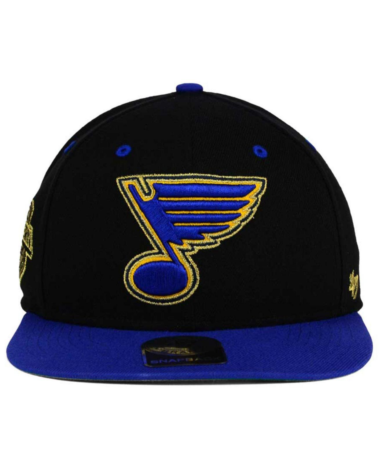 new style 4e282 cfa29 ... netherlands lyst 47 brand st. louis blues gold rush snapback cap in  black for men