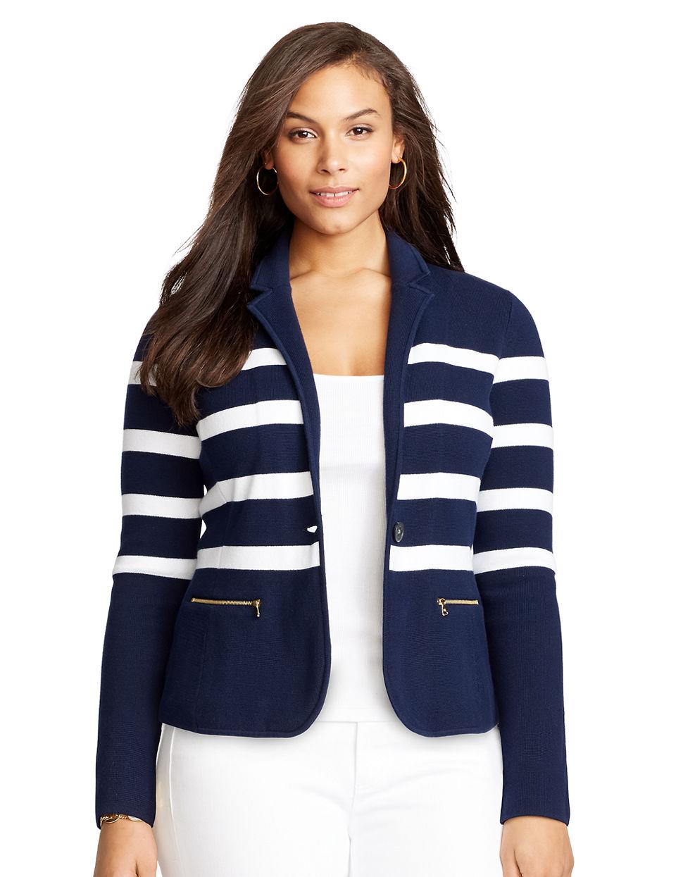 Lauren by ralph lauren Plus Striped Cotton Sweater Blazer in Blue ...