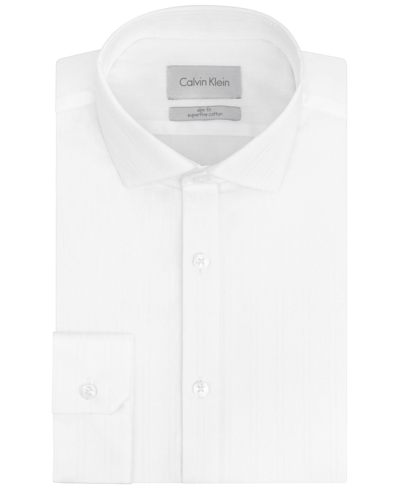 Lyst Calvin Klein Platinum Slim Fit White Tonal Stripe Dress Shirt