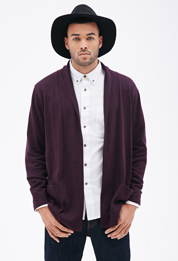 Forever 21 Striped Open-front Cardigan in Purple for Men | Lyst