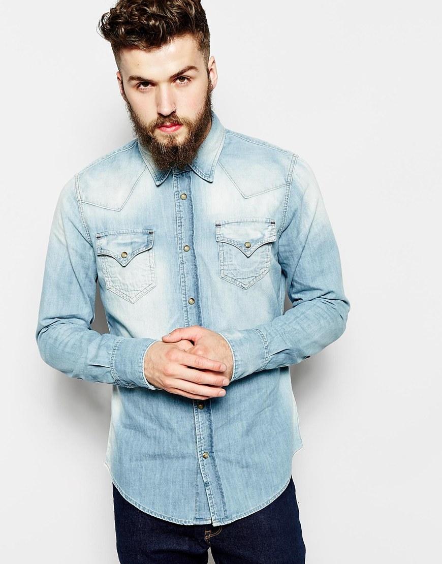 9dae7d514d9 Lyst - True Religion Denim Shirt Jake Slim Fit Western Light Indigo ...