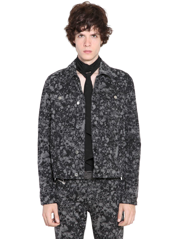 Costume N Costume Pollock Printed Stretch Denim Jacket In