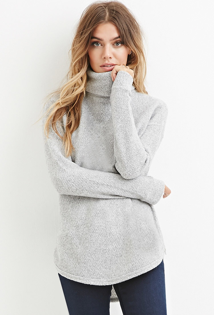 Forever 21 Loop Knit Turtleneck Sweater in Gray | Lyst