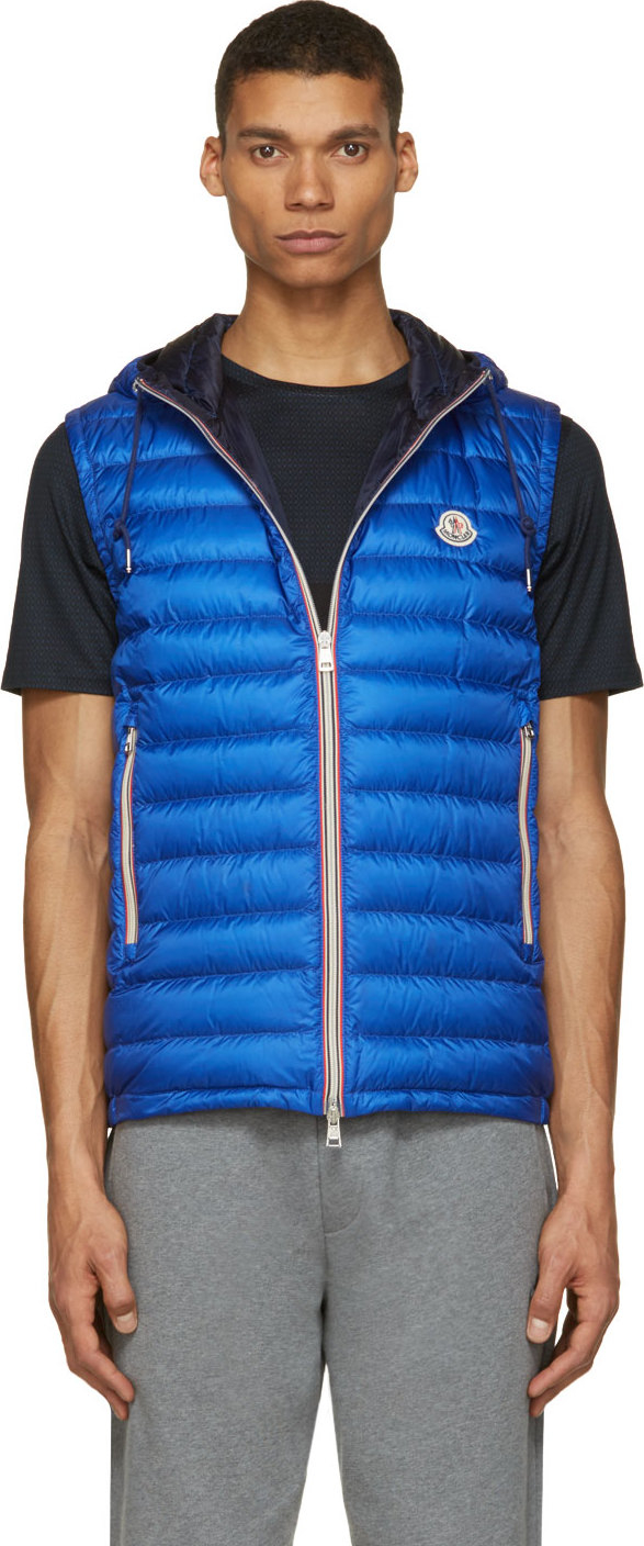 Moncler Royal Blue Quilted Down Hooded Naples Vest In Blue