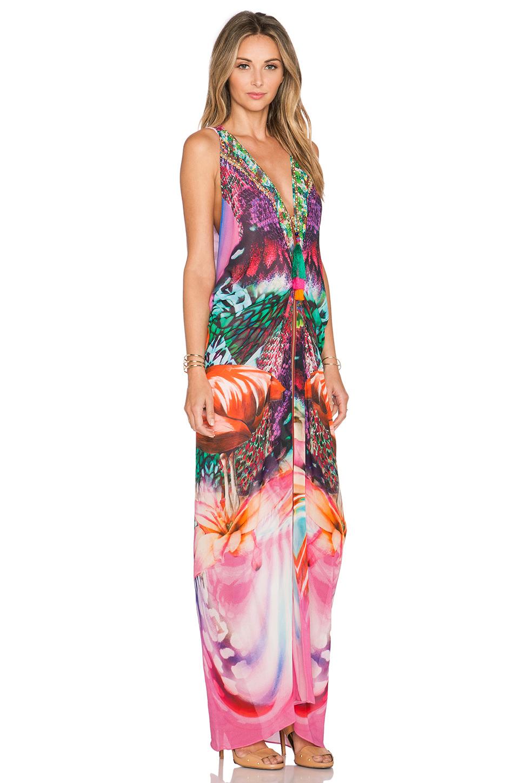 camilla drape silk dress in green lyst