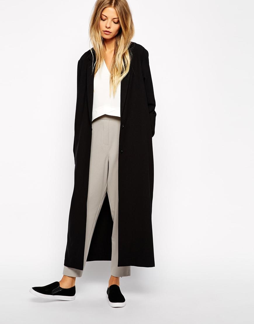 asos crepe duster jacket in maxi length in black lyst. Black Bedroom Furniture Sets. Home Design Ideas