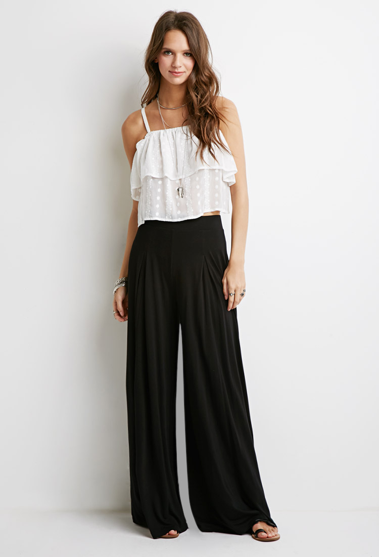 lyst forever 21 box pleat palazzo pants in black. Black Bedroom Furniture Sets. Home Design Ideas