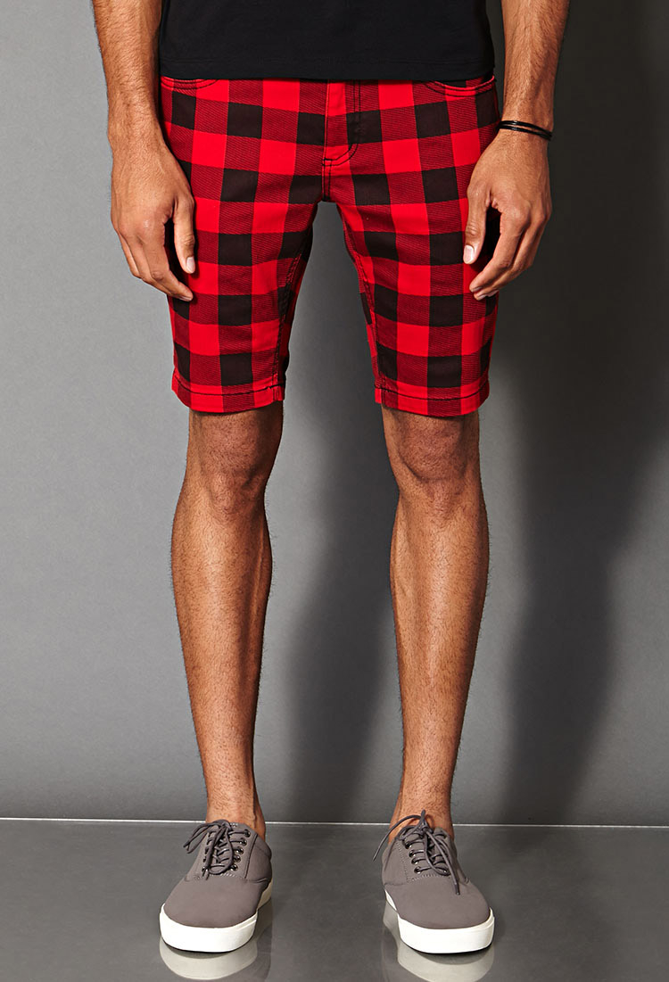 Forever 21 Buffalo Plaid Denim Shorts in Red for Men | Lyst