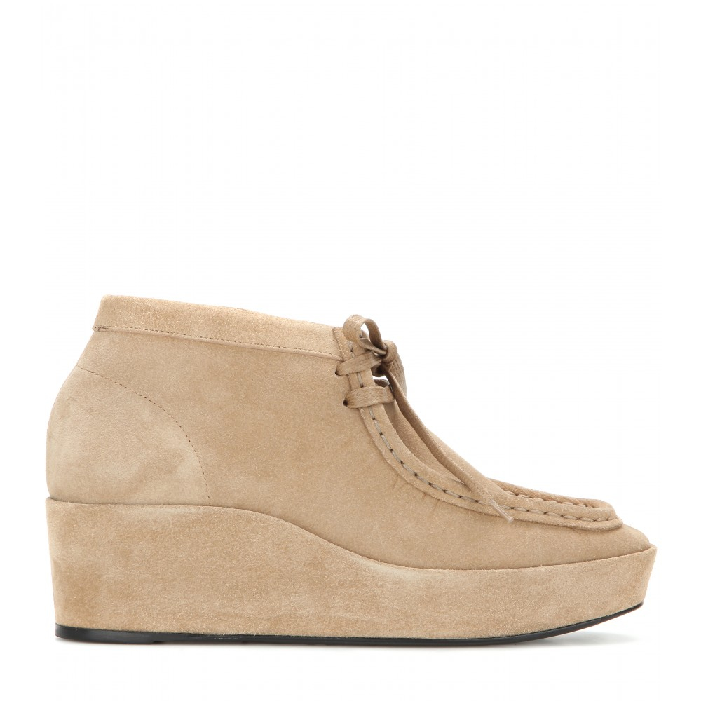 balenciaga suede wedge ankle boots in lyst