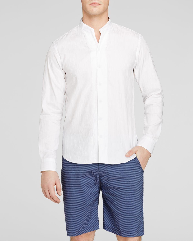 Lyst armani stand collar button down shirt classic fit for White button down collar shirt