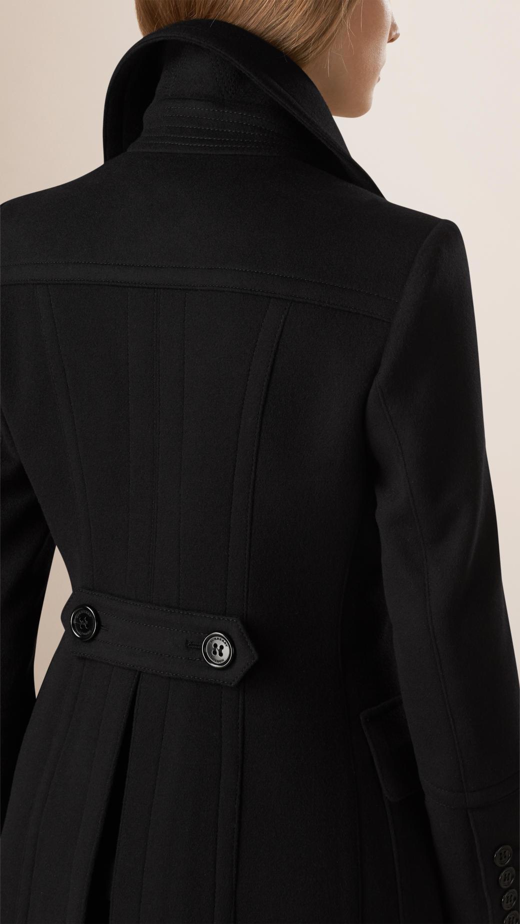 Womens long black pea coat