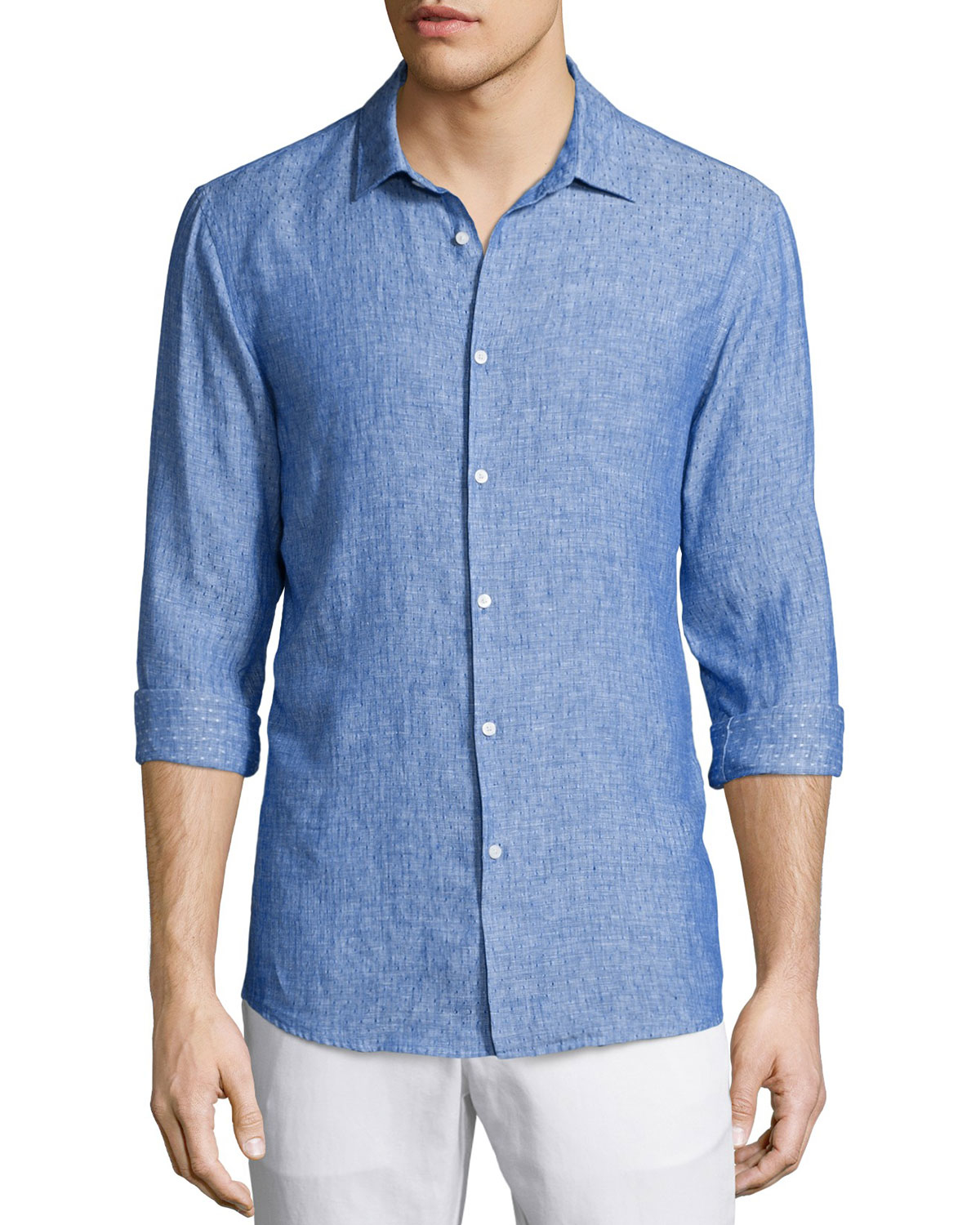 Michael kors textured dobby slim fit linen shirt in blue for Michael kors mens shirts sale