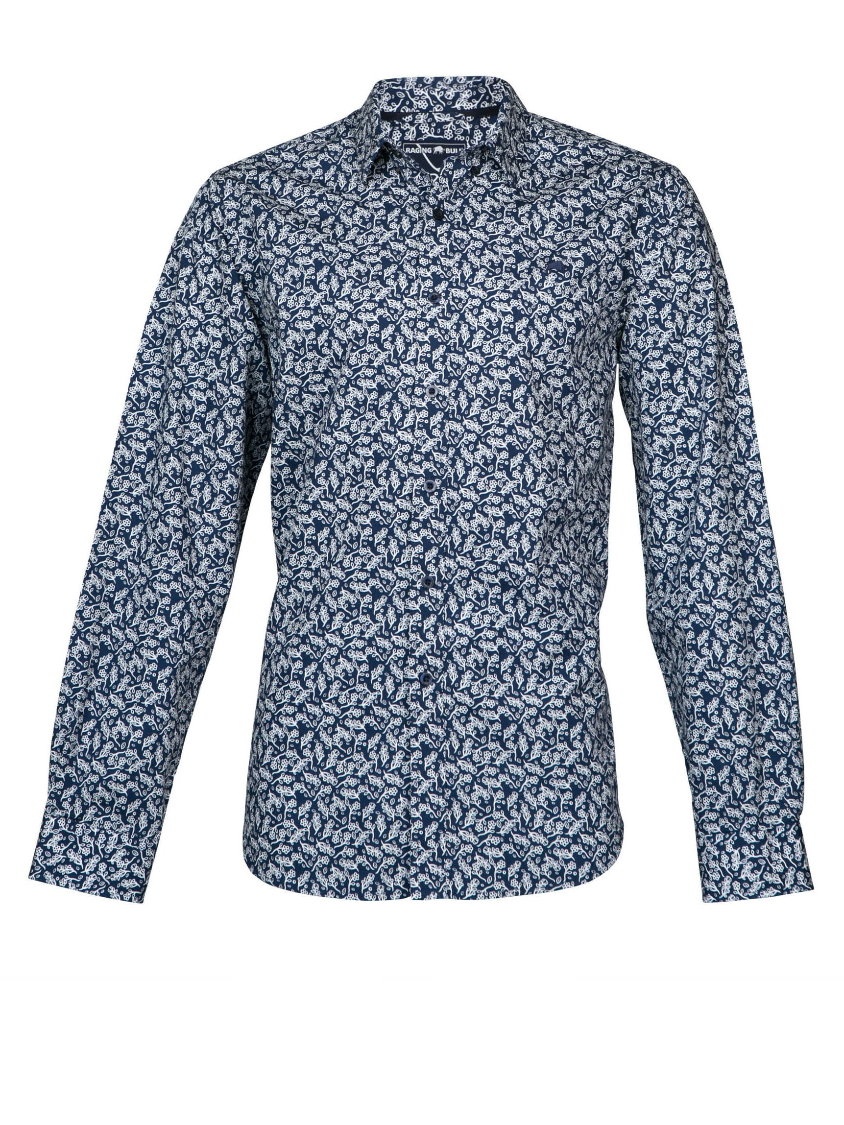 Lyst raging bull l s floral print shirt in purple for men for Printed shirts for men