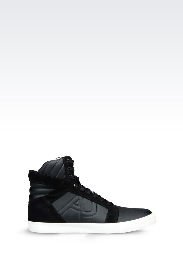 armani jeans high top sneaker in leather with logo in. Black Bedroom Furniture Sets. Home Design Ideas