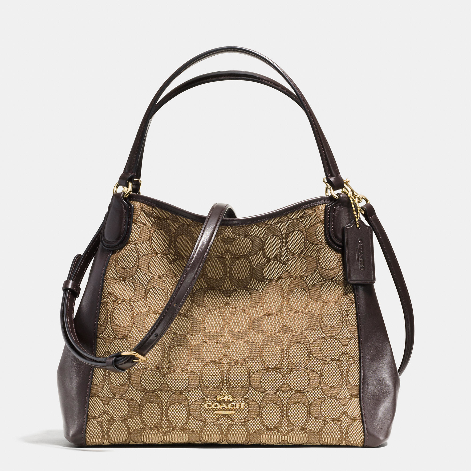 coach edie 28 jacquard and leather shoulder bag in brown lyst. Black Bedroom Furniture Sets. Home Design Ideas