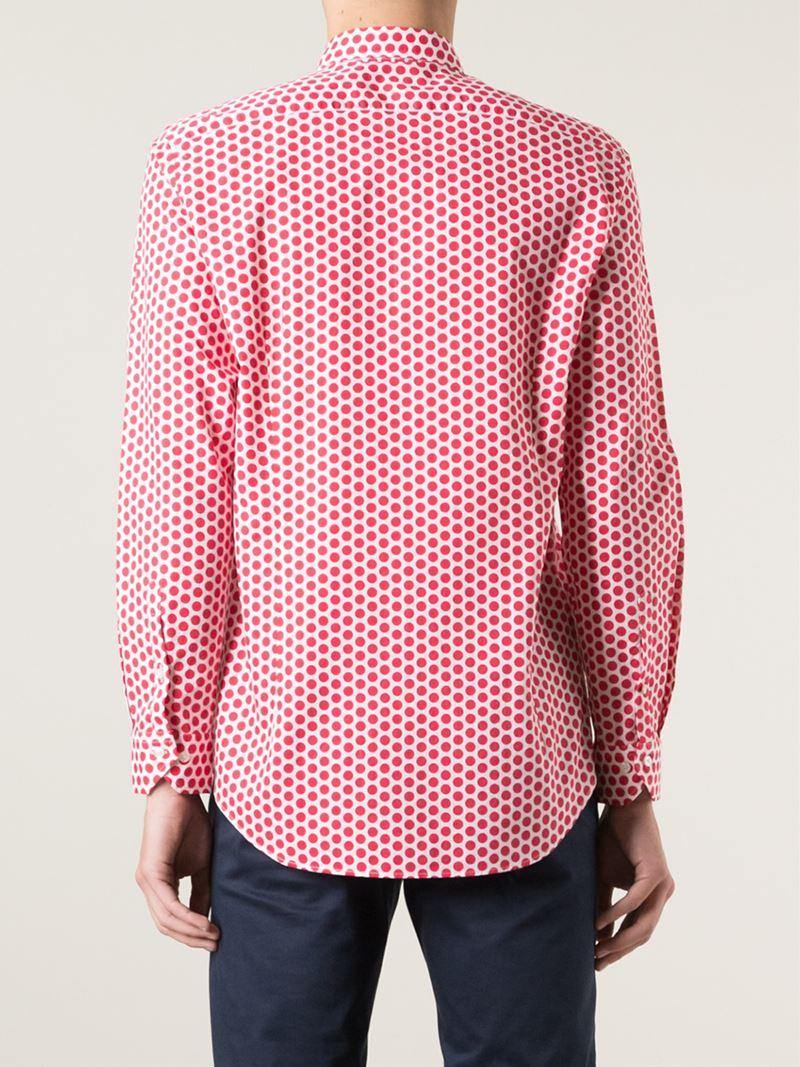 Lyst etro polka dot print shirt in red for men for White red polka dot shirt