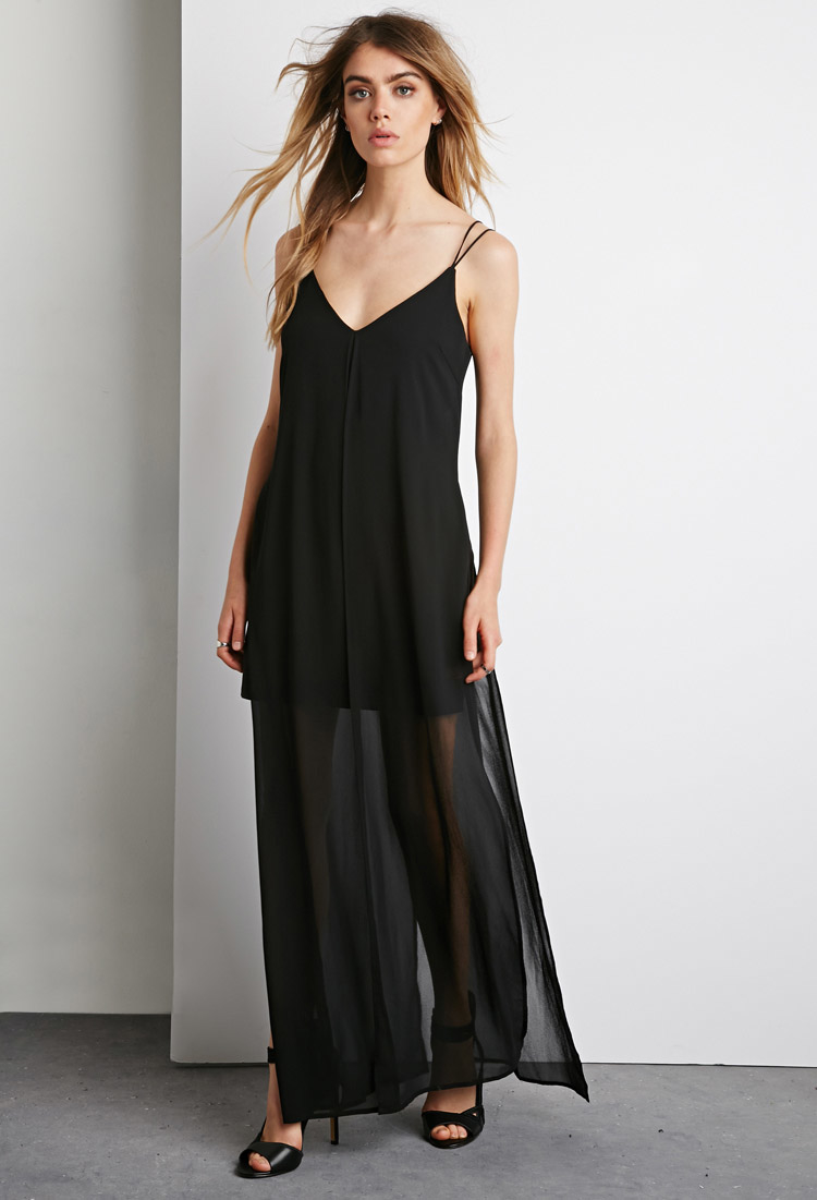 8847a33e64d Lyst - Forever 21 Strappy Chiffon Maxi Dress in Black