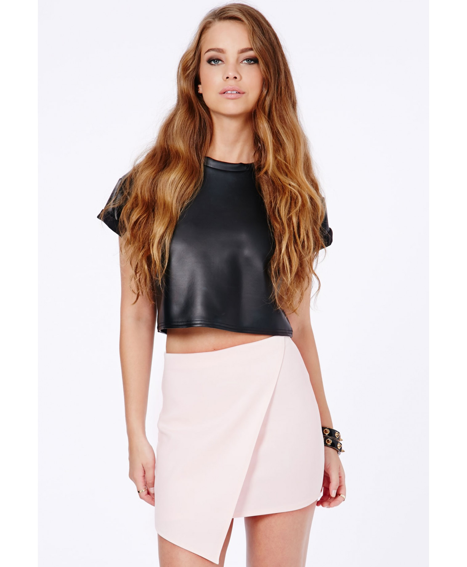 Missguided Milagros Wrap Over Mini Skirt In Baby Pink in Pink | Lyst
