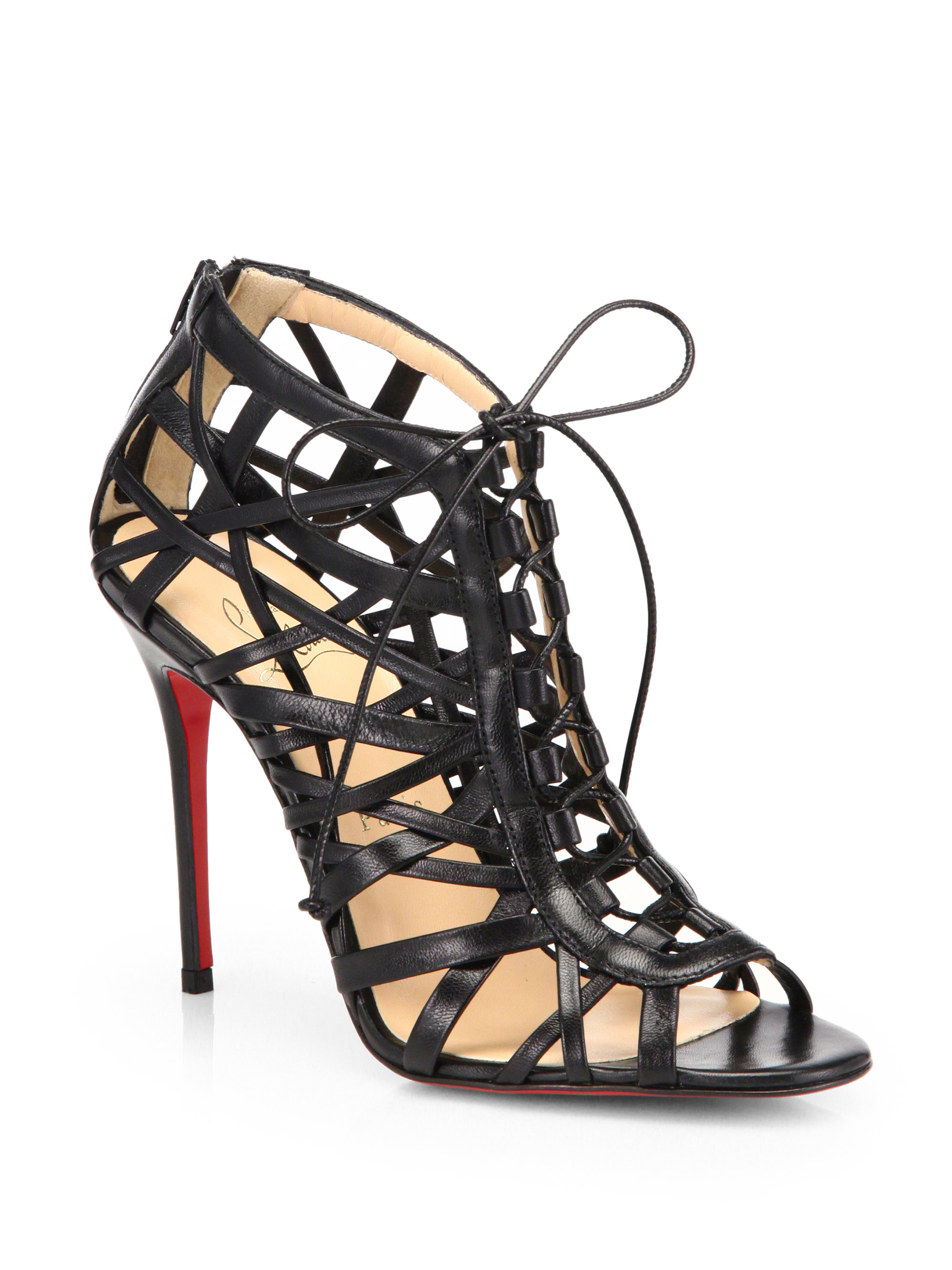 christian louboutin zoulou leather platform sandals - Obsidian ...