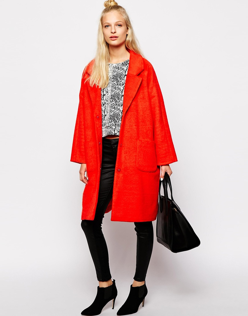 Monki Oversized Cocoon Coat in Orange | Lyst