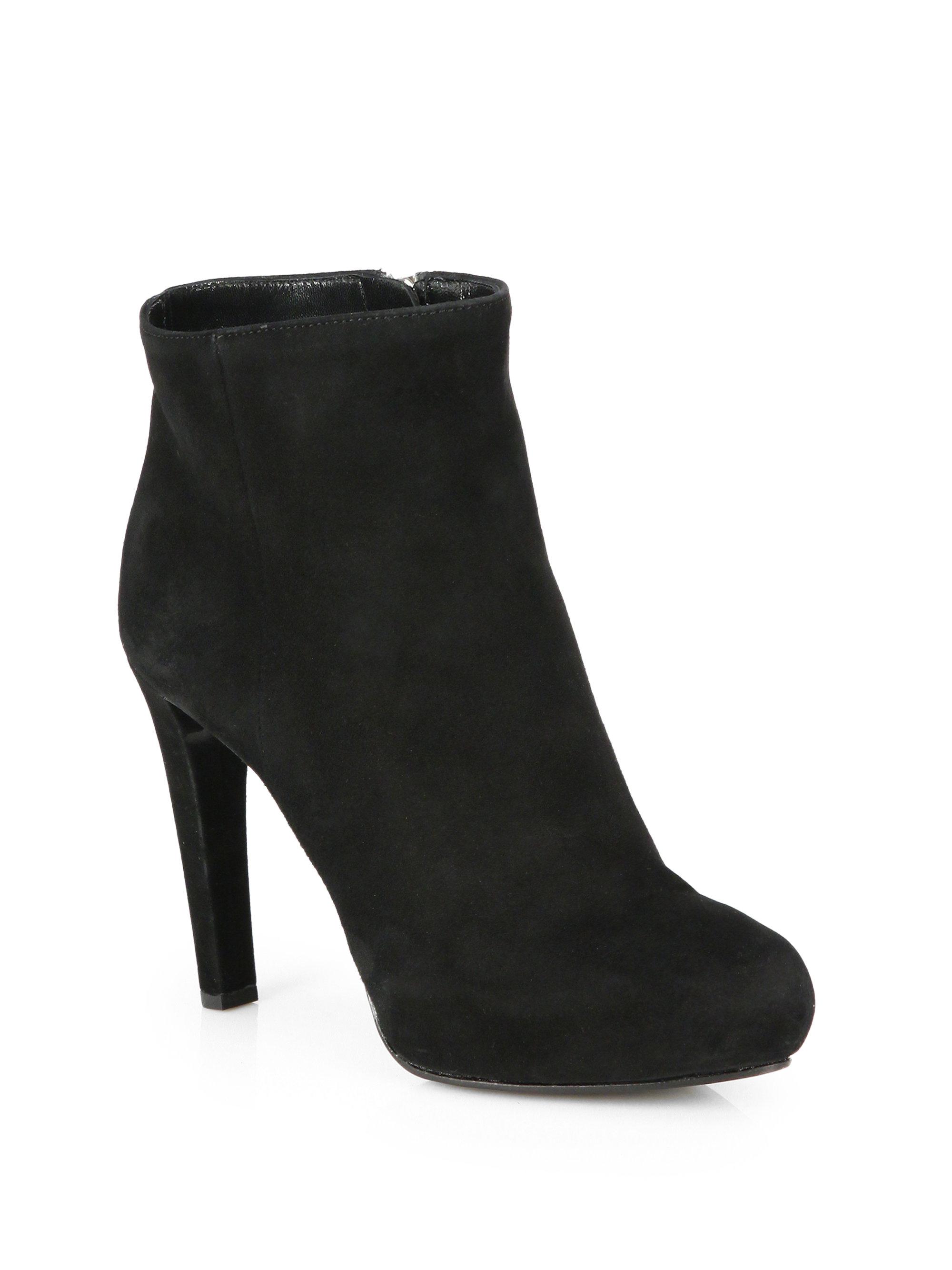 prada suede platform ankle boots in black nero black lyst