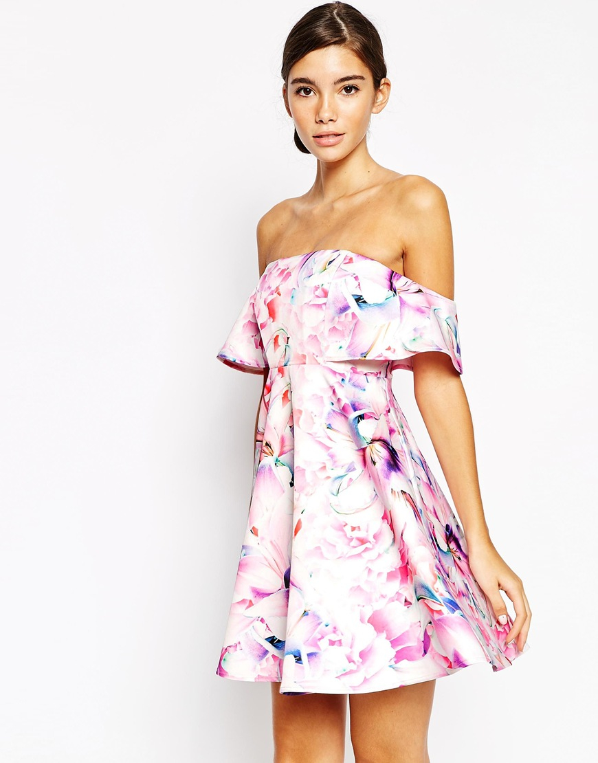 2ec05db0c8 Lyst - Bardot Bandeau Frill Top Skater Dress In Floral Print