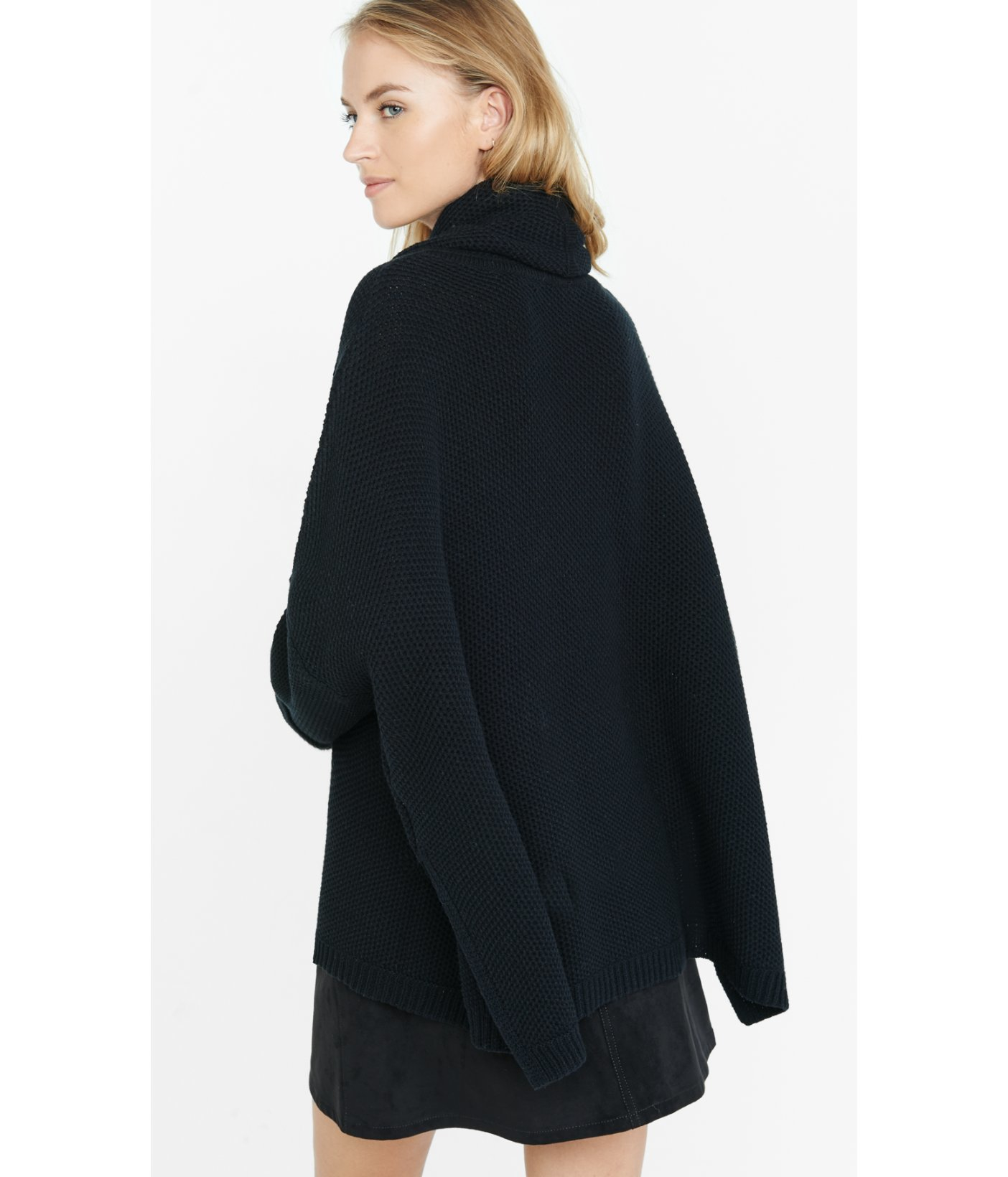 Express Cowl Neck Boxy Sweater in Black | Lyst