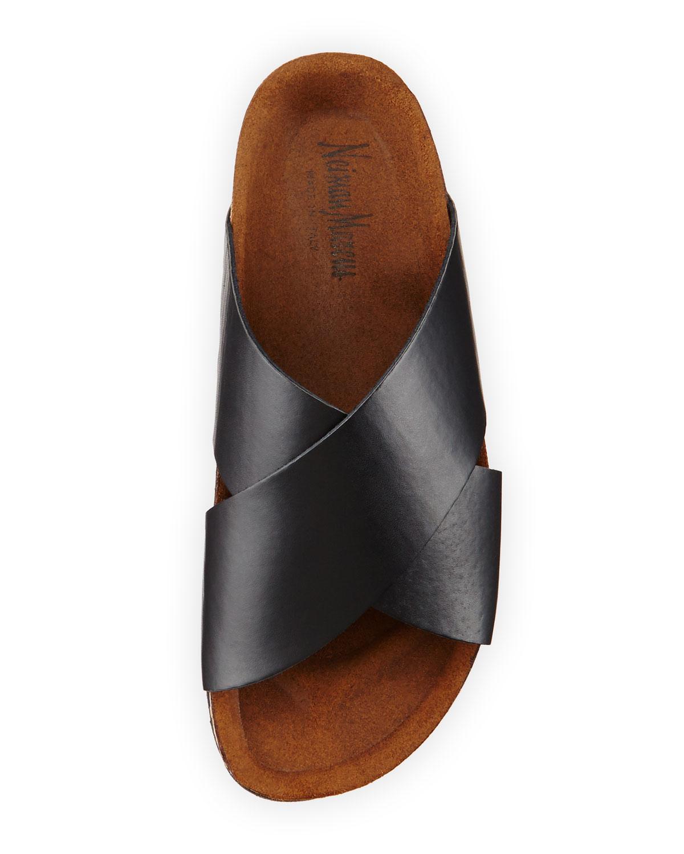 Neiman marcus Brenda Crisscross Slide Sandal in Black   Lyst