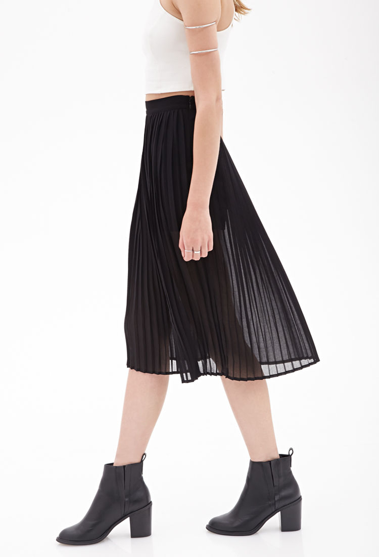 Forever 21 Pleated Chiffon Skirt in Black | Lyst