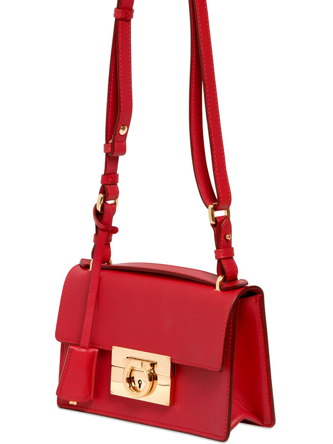 e966f9a8f520 Lyst - Ferragamo Aileen Brushed Leather Shoulder Bag in Red
