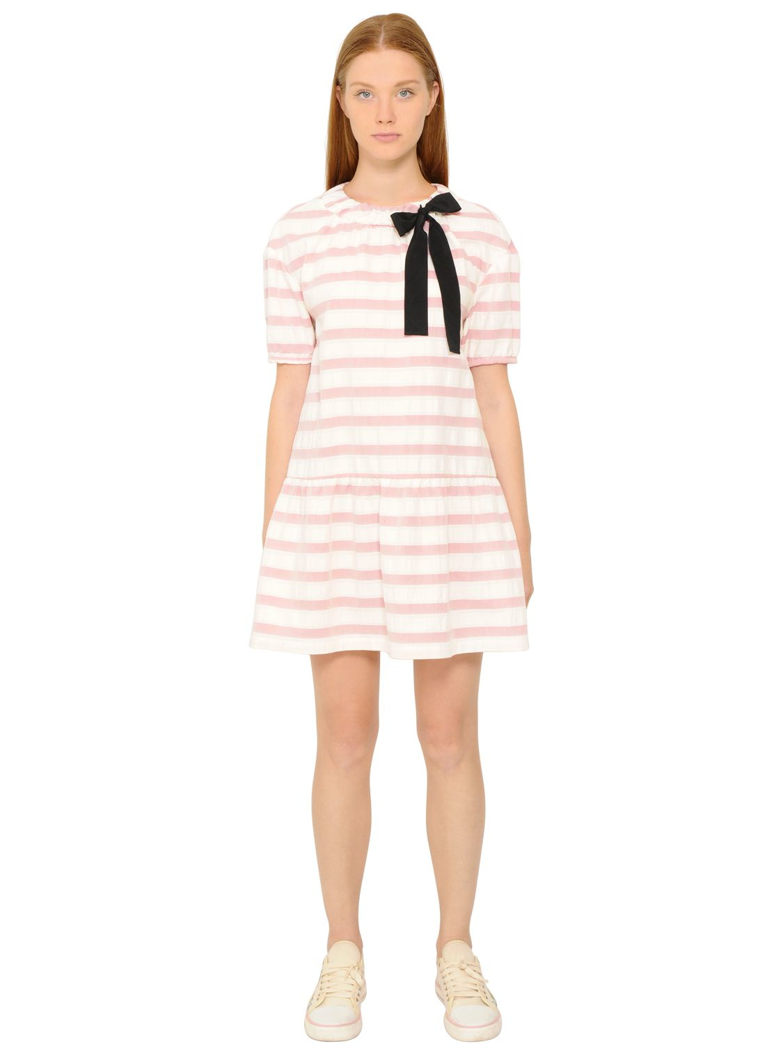 Red Valentino Striped Cotton Jacquard Dress In Pink Pink