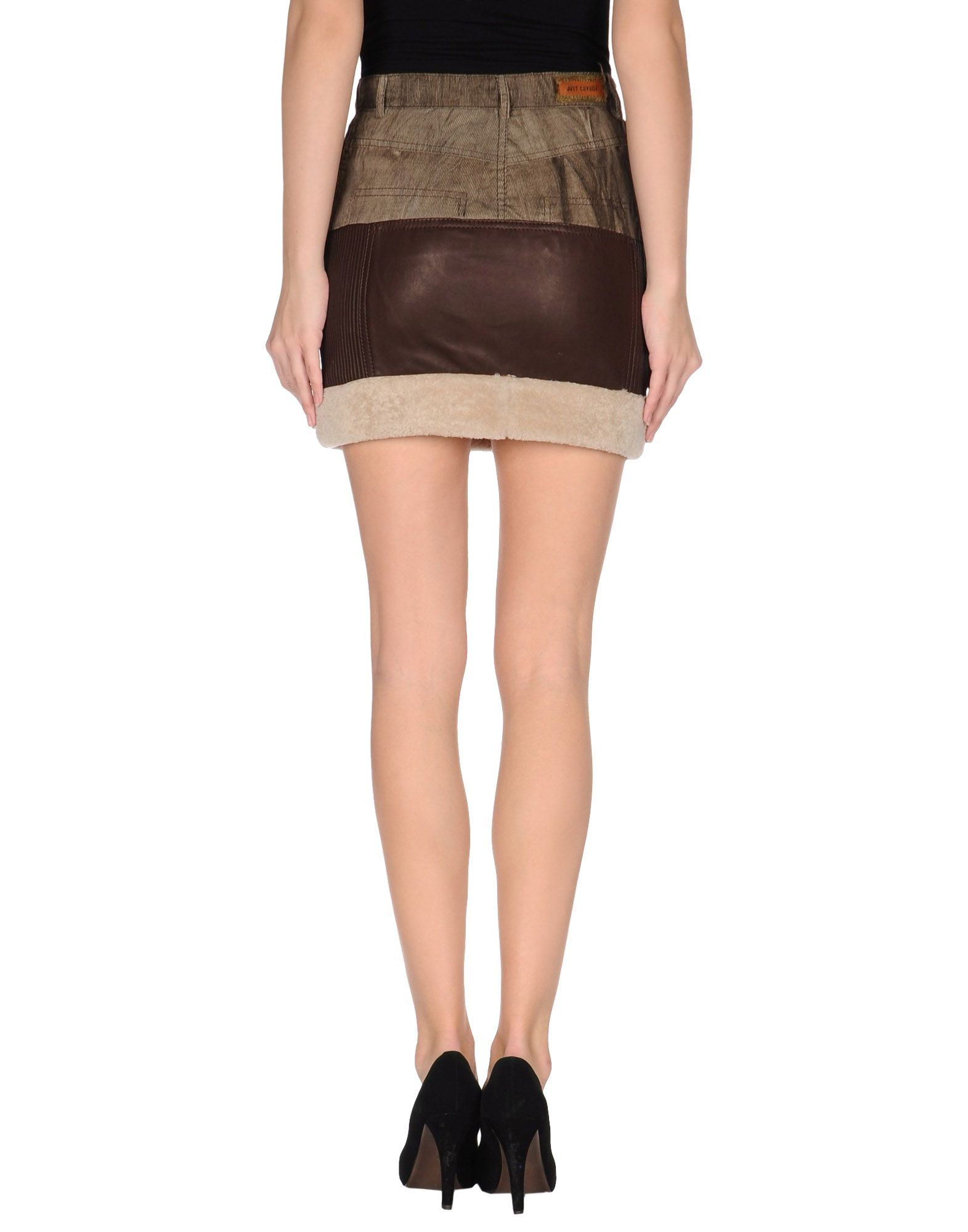 Just cavalli Leather Skirt in Brown