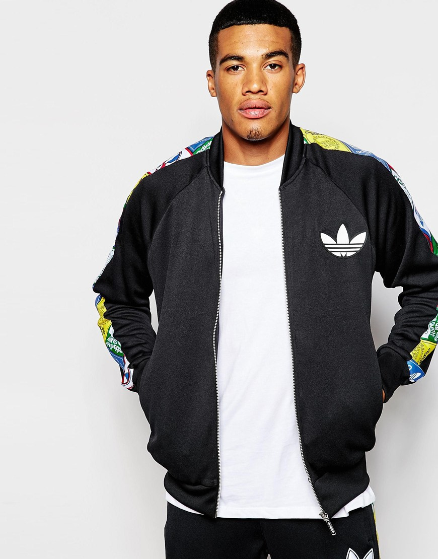 c115432d1bbccc Lyst - adidas Originals Track Jacket With Label Taping Ab7692 in ...