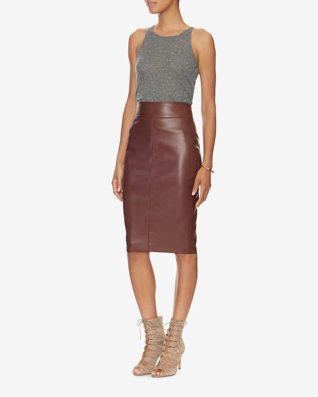 bailey 44 exclusive faux leather pencil skirt wine in