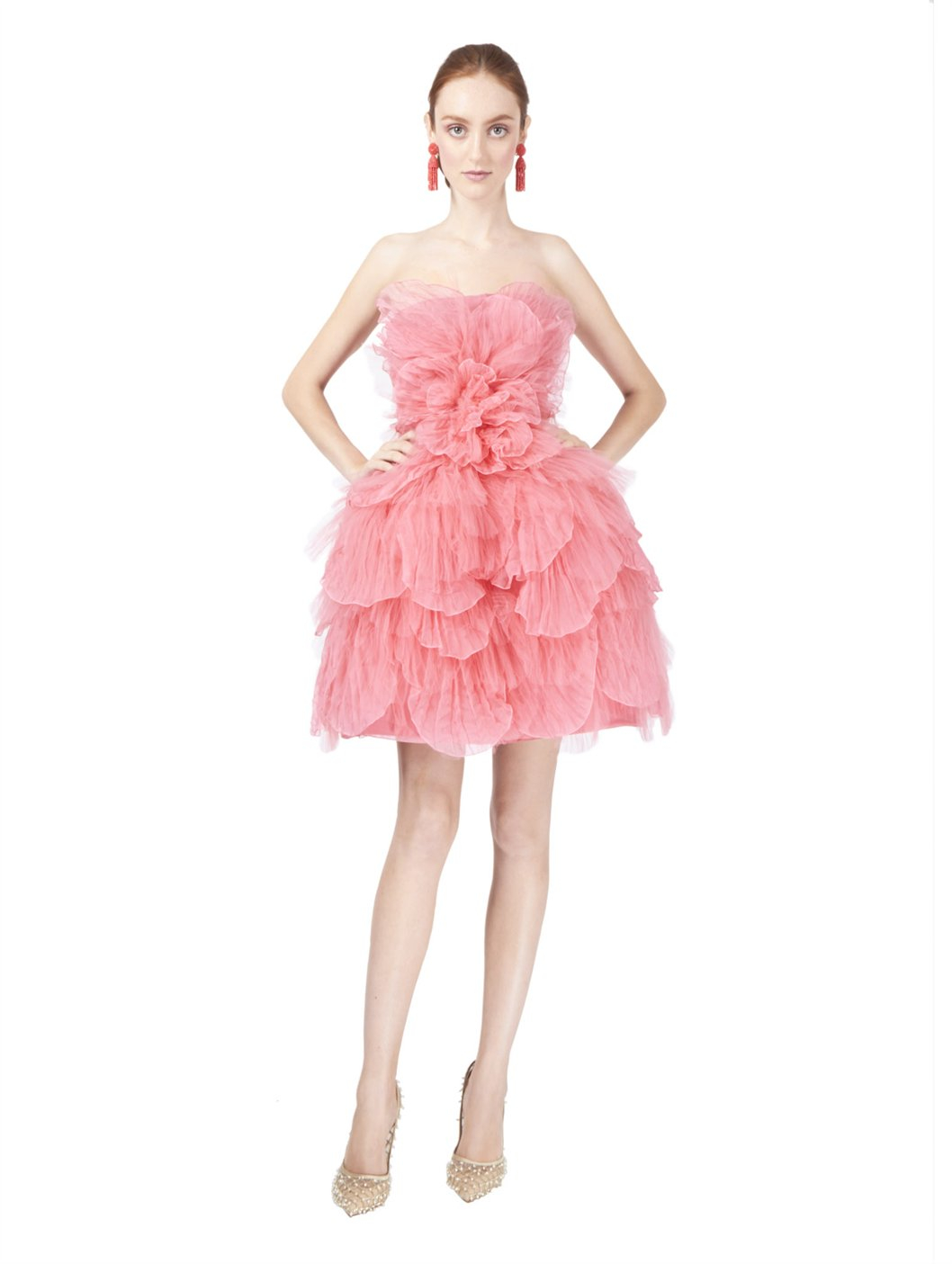 lyst oscar de la renta strapless tulle petal dress in pink. Black Bedroom Furniture Sets. Home Design Ideas