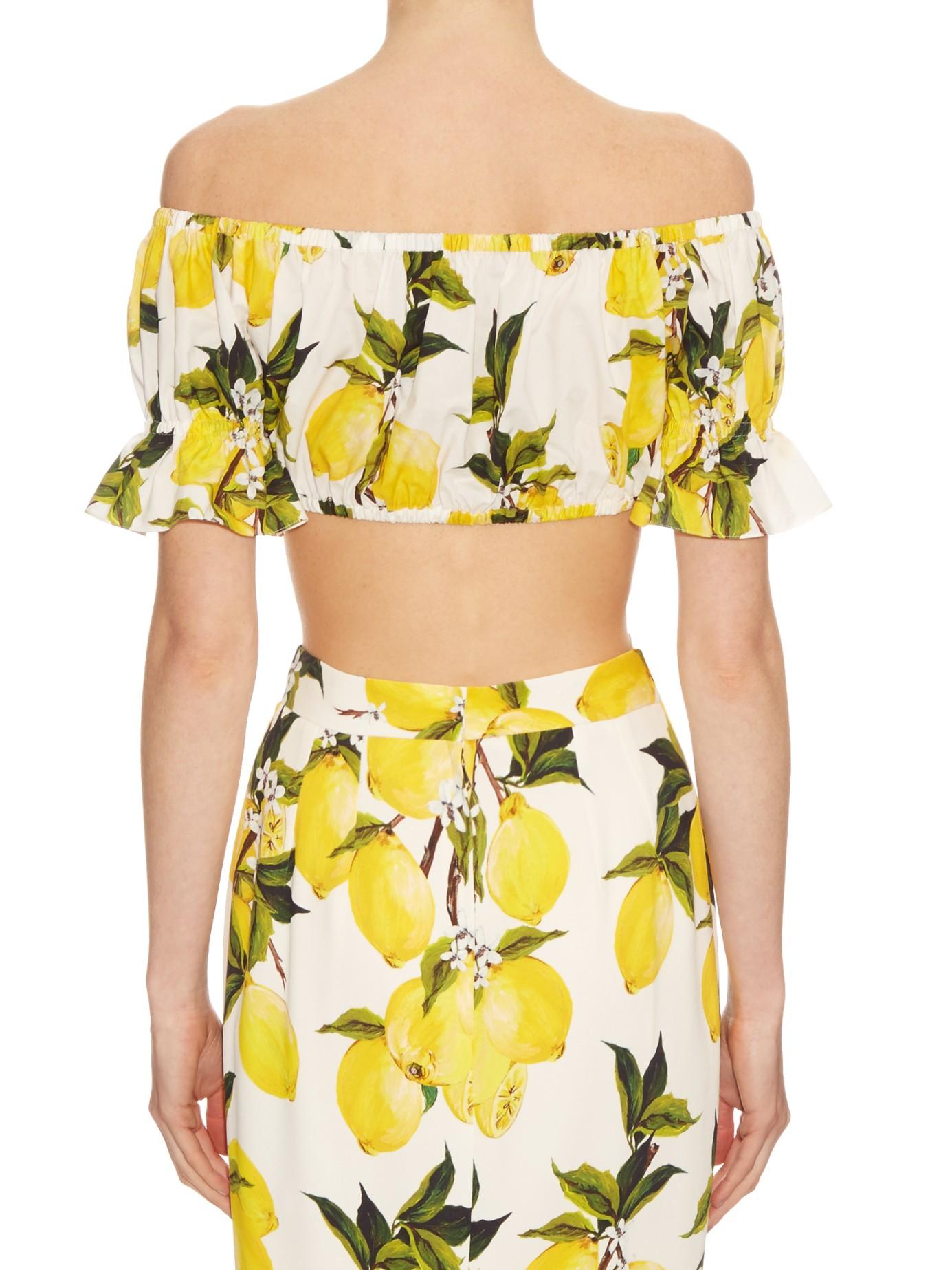 Lyst - Dolce   Gabbana Lemon-print Off-the-shoulder Top in Yellow 7d43b3aa690e8