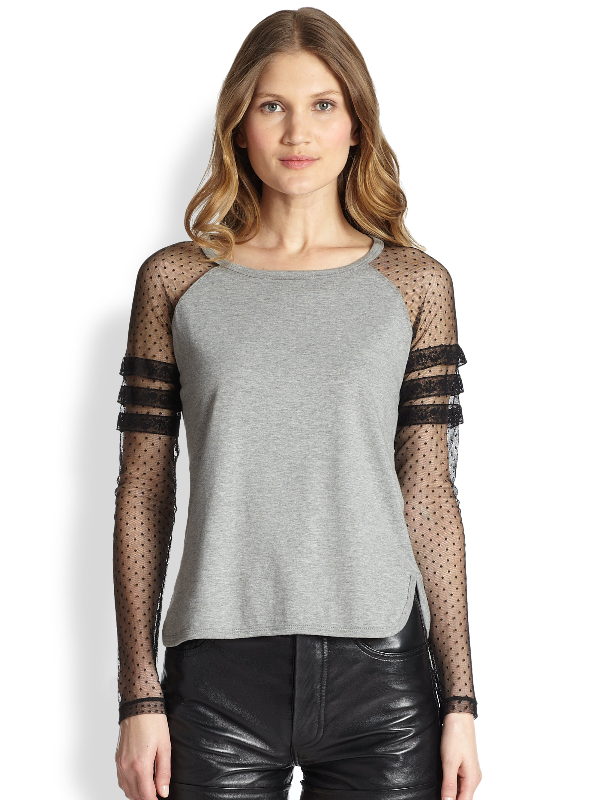 Red Valentino Spring 2016: RED Valentino Jersey Contrast Baseball Tee In Gray