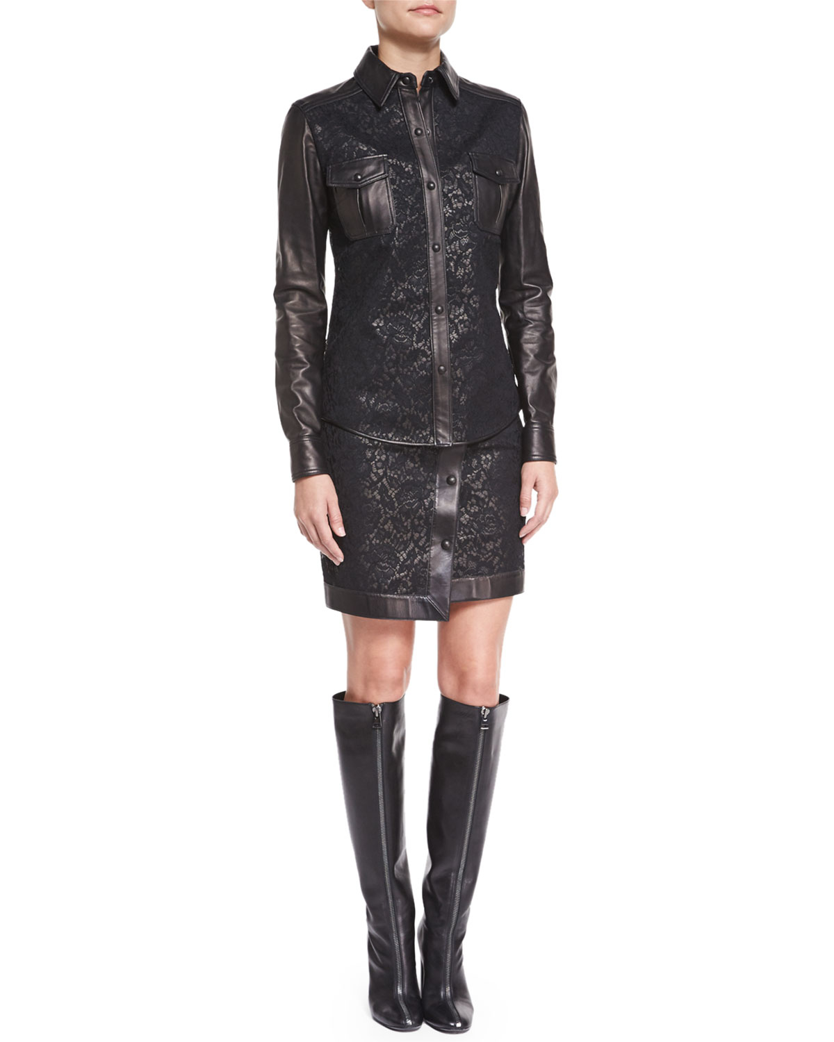 lyst tom ford asymmetric lace leather mini skirt in black. Black Bedroom Furniture Sets. Home Design Ideas