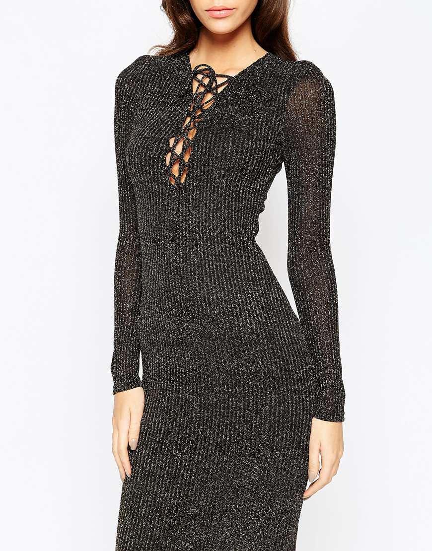 Lyst Bardot Metallic Knit Midi Dress With Lace Up Front