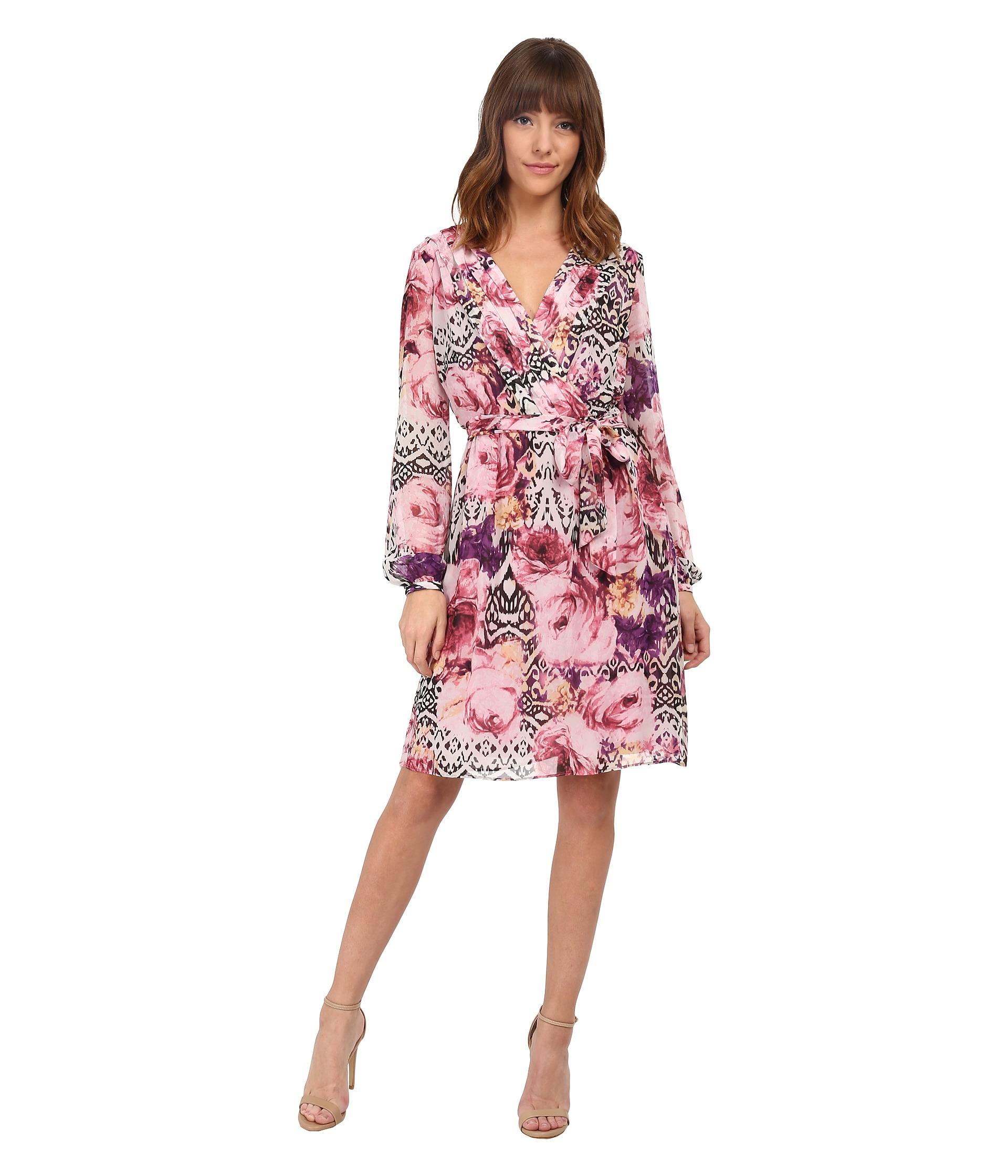 647b8330f866 Lyst - Jessica Simpson Chiffon Long Sleeve Floral Dress in Pink