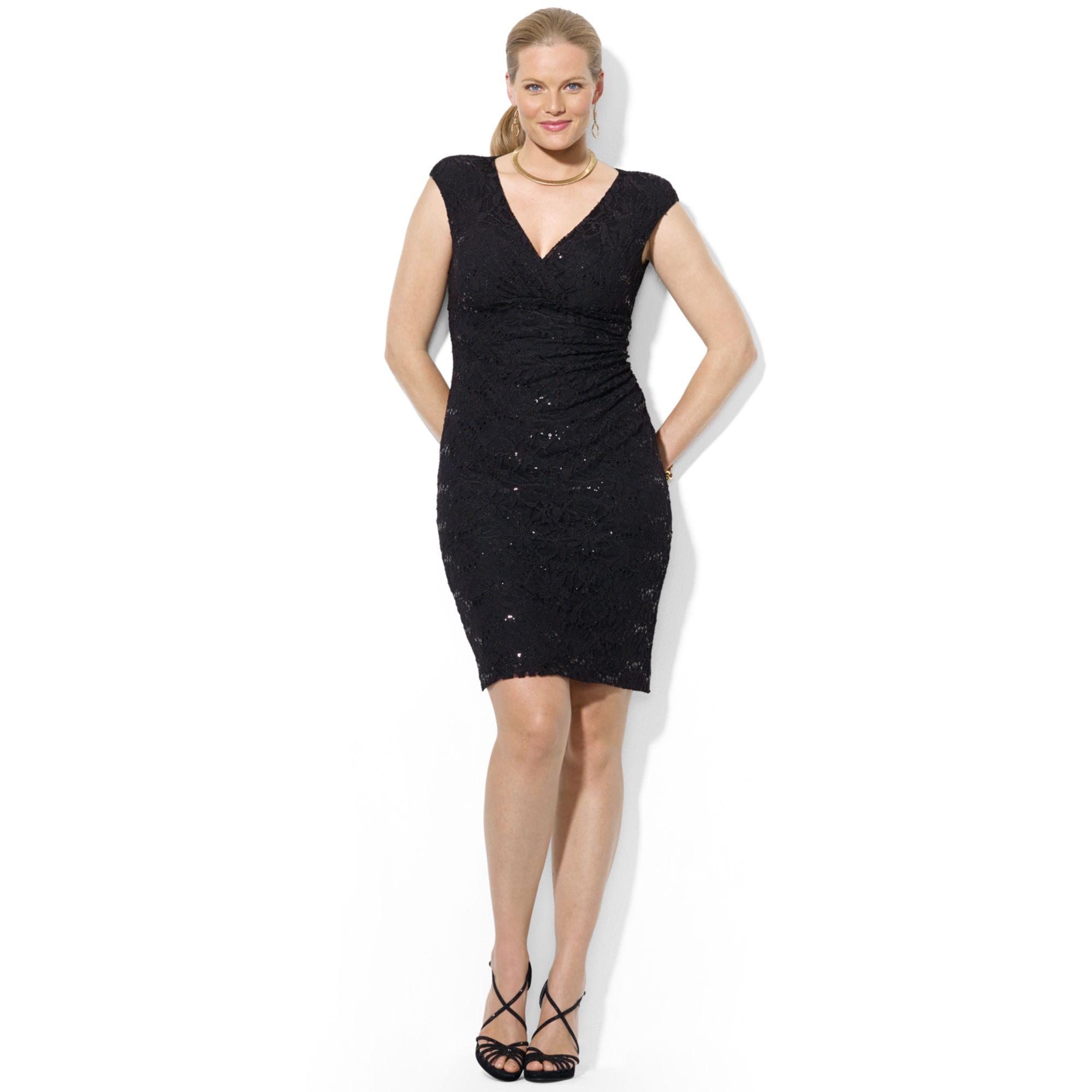 Lyst - Lauren By Ralph Lauren Plus Size Capsleeve Vneck Lace Dress .