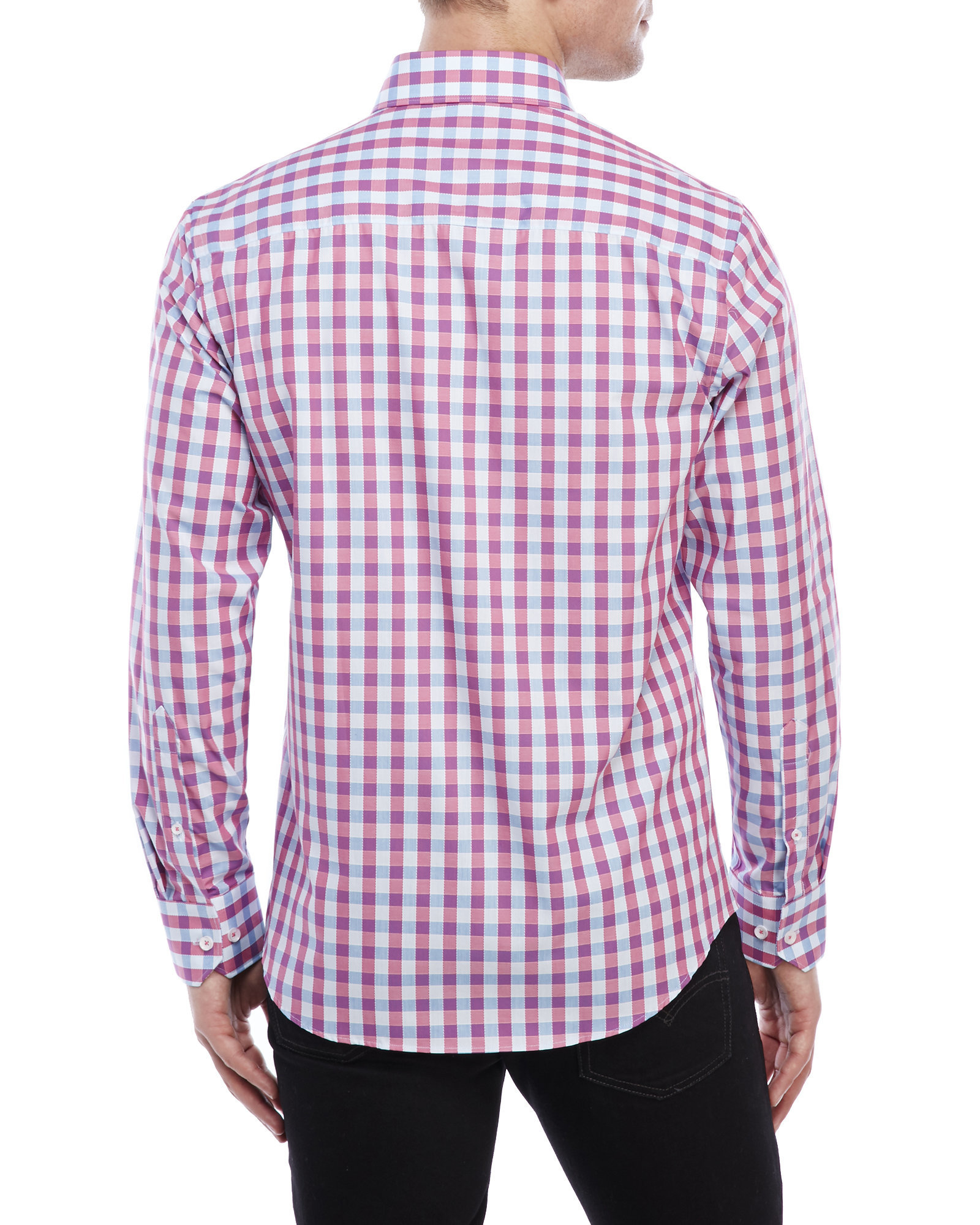 Park west checkered sport shirt in pink for men lyst for Pink checkered dress shirt