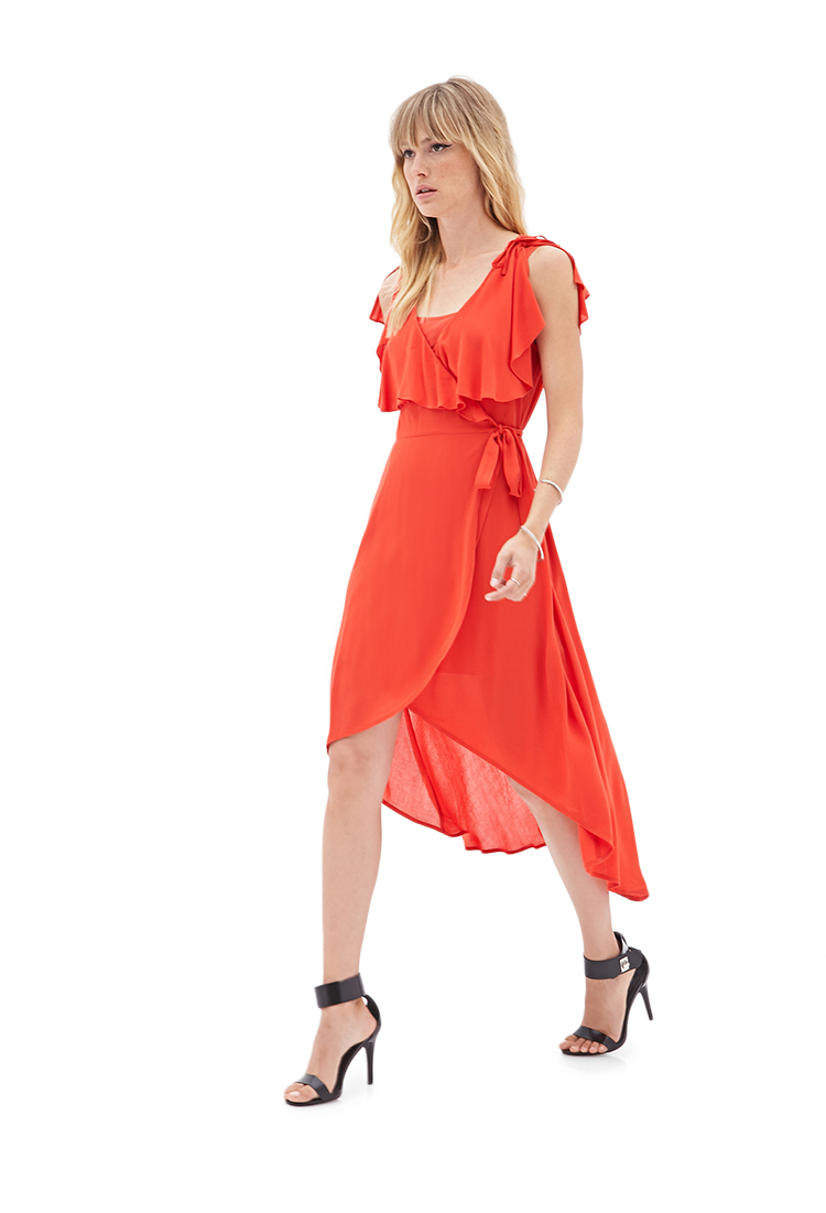 2a8514b2bb7 Lyst - Forever 21 High-low Ruffled Wrap Dress in Orange