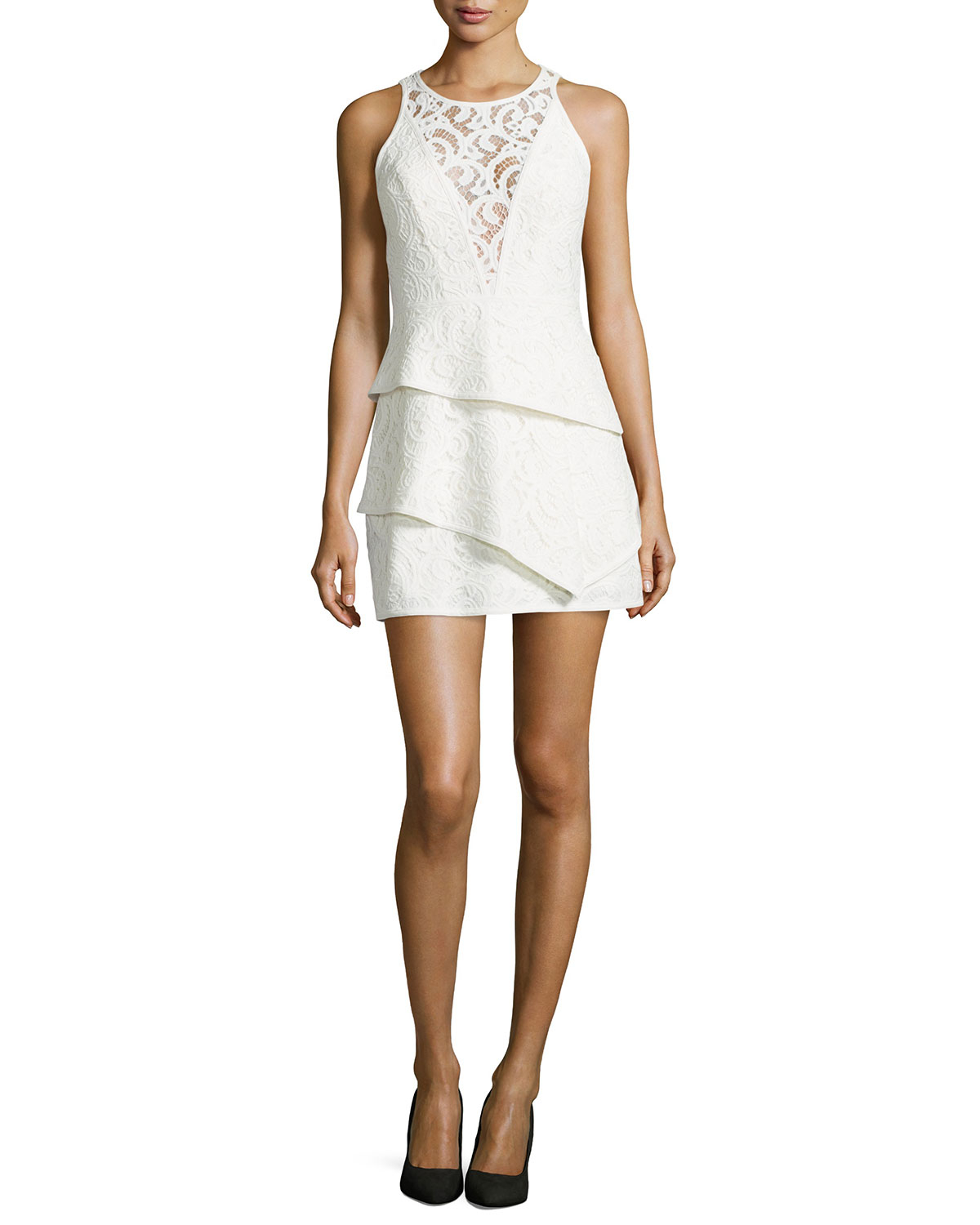 Bcbgmaxazria illusion yoke lace cocktail dress