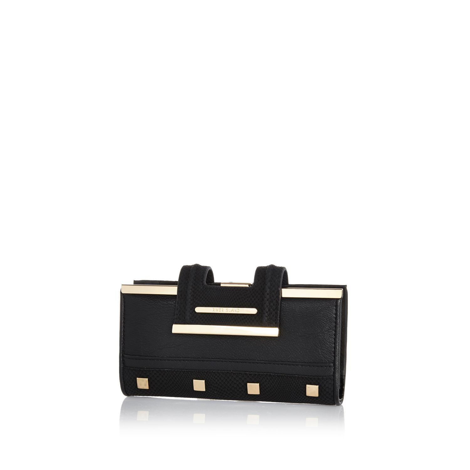 3ceed1d86fba0 River Island Black Studded Clip Top Purse in Black - Lyst