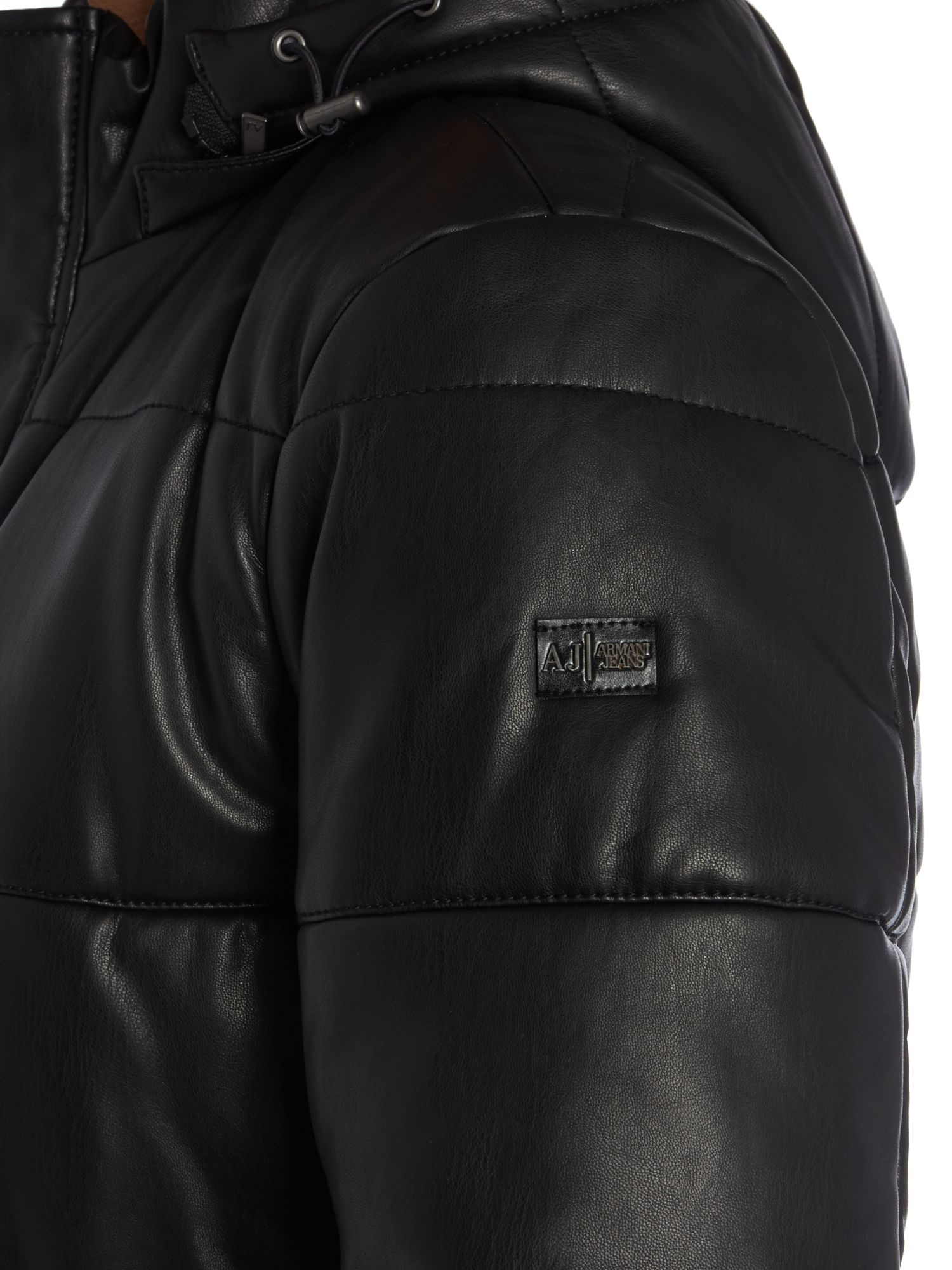 Armani jeans Quilted Leather Look Padded Jacket in Black for Men ... : armani jeans quilted jacket - Adamdwight.com