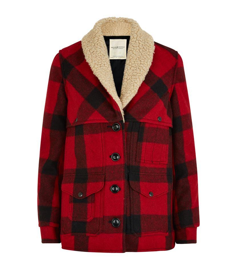 Denim &amp supply ralph lauren Plaid Shearling Coat in Red | Lyst