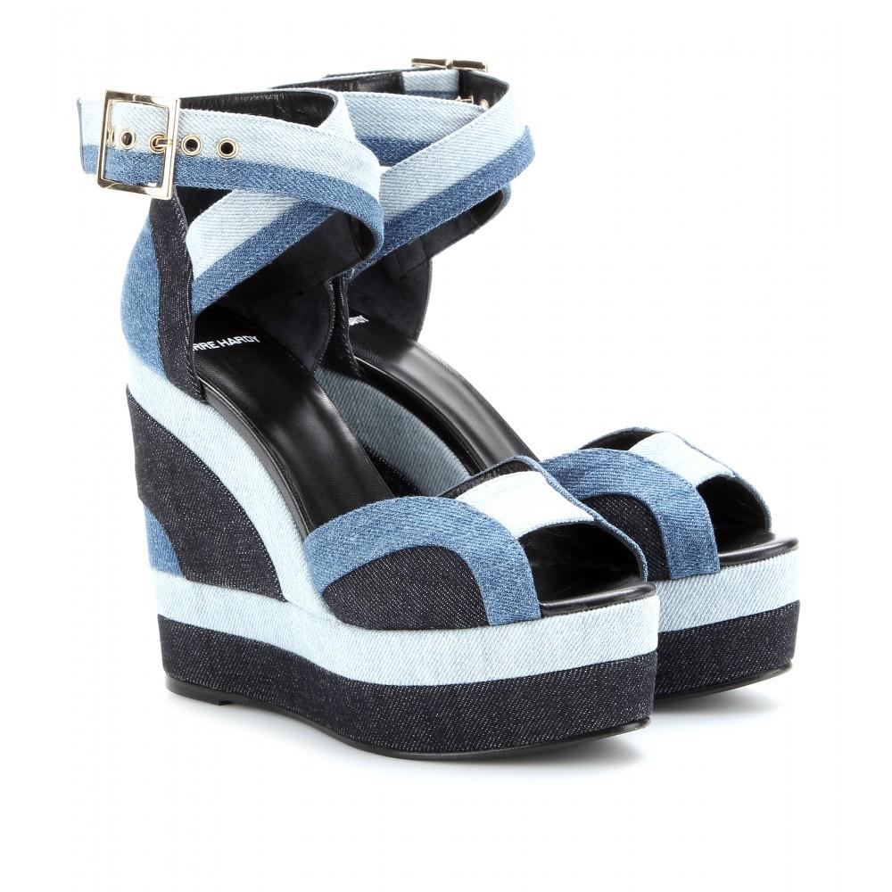 hardy denim wedge platform sandals in blue lyst