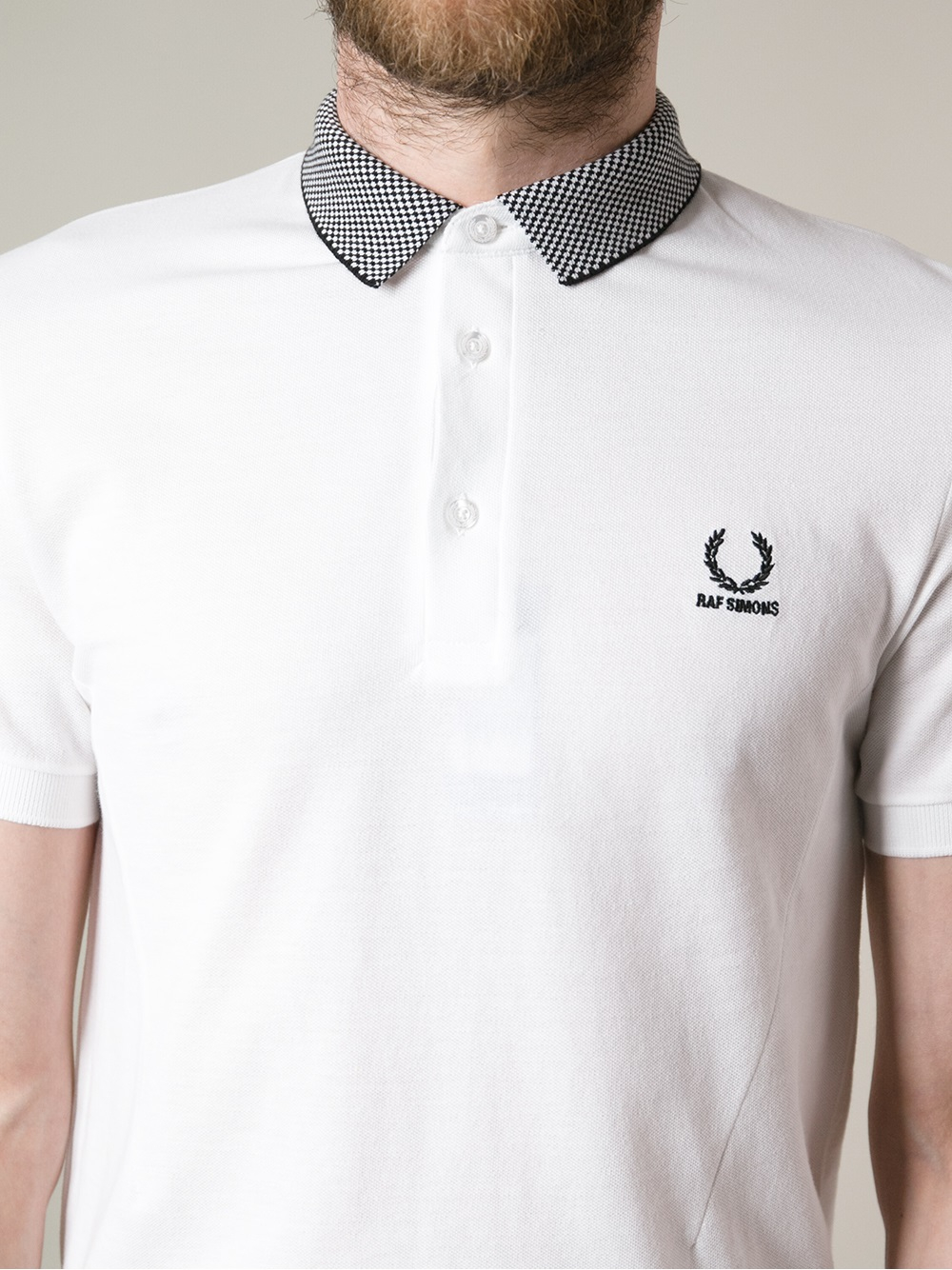 Stussy contrast collar polo shirt in white for men lyst for Cheap polo collar shirts